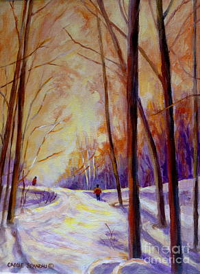 Cross-country Skiing Painting - Cross Country Sking St. Agathe Quebec by Carole Spandau