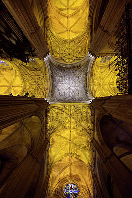 Spain Photograph - Cross Shaped Nave Ceiling With Pillars And Stained Glass Windows by Reimar Gaertner