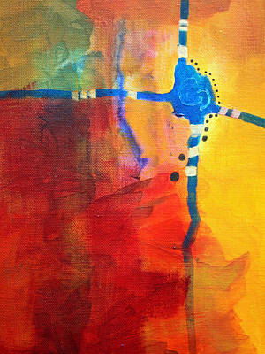 Crossed Abstract Cruciform Painting Original by Nancy Merkle