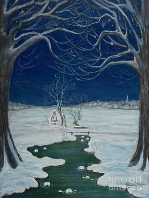 Folkartanna Painting - Crossing At The Shrine by Anna Folkartanna Maciejewska-Dyba