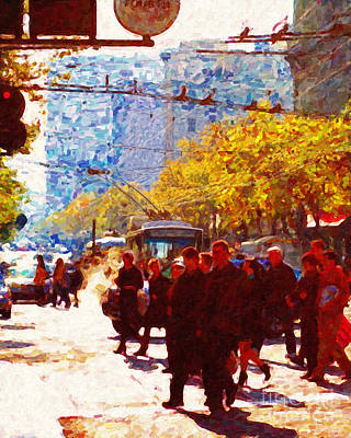 Crossing Market Street 2 . Photo Artwork Print by Wingsdomain Art and Photography