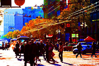 Crossing Market Street . Photo Artwork Print by Wingsdomain Art and Photography