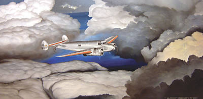 Lockheed Aircraft Painting - Crossing Over  Amelia Earharts Final Flight by Marc Stewart