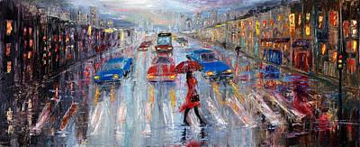 Oil Lamp Drawing - Crossing The Street by Boyan Dimitrov