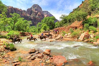 Crossing The Virgin River In Zion Print by Donna Kennedy