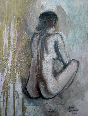 James Gallagher Painting - Crouching Nude by James Gallagher