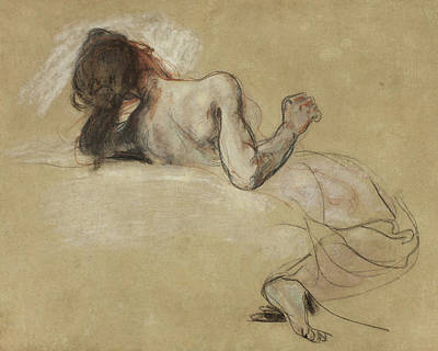 Delacroix Drawing - Crouching Woman by Ferdinand Victor Eugene Delacroix