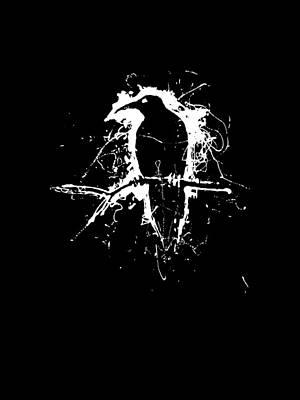 Blackbird Drawing - Crow by H James Hoff