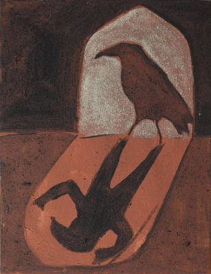 Crow In The Doorway Of Life With Woad Print by Sophy White