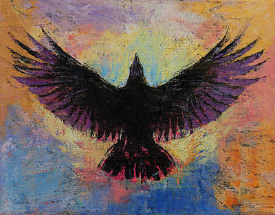 Raven Painting - Crow by Michael Creese