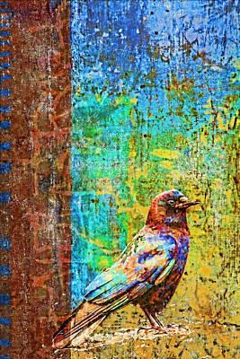 Corvid Digital Art - Crow Of Many Colors by Carol Leigh