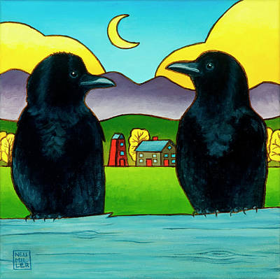 Raven Painting - Crow Tales by Stacey Neumiller