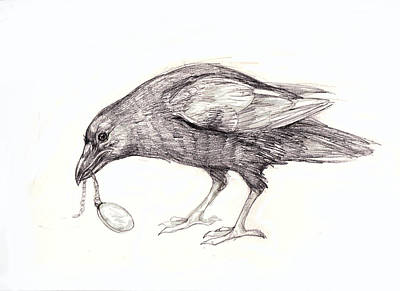 Locket Drawing - Crow With Locket by Peggy Wilson