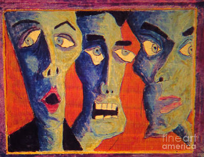 Egg Tempera Painting - Crowd Reaction by Jeffrey Birr