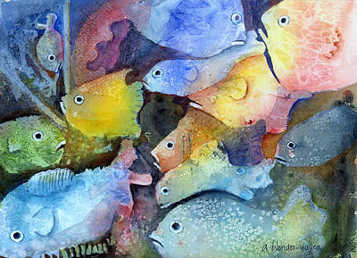 Sea Life Painting - Crowded Space by Arline Wagner
