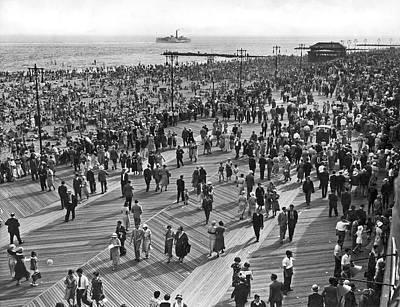 Crowds At Coney Island Print by Underwood & Underwood