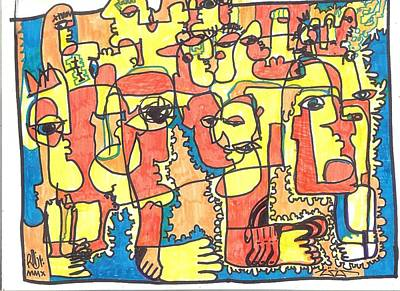 Folk Art Mixed Media - Crowds Of Yellow by Robert Wolverton Jr