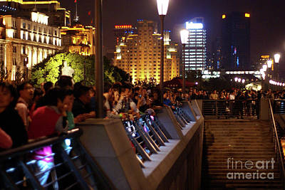 Shanghai China Photograph - Crowds On The Bund by Rene Fuller