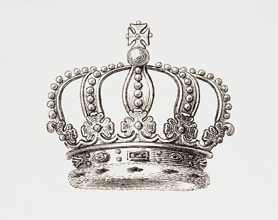 Sweden Drawing - Crown Of The Kingdom Of Sweden. From by Vintage Design Pics
