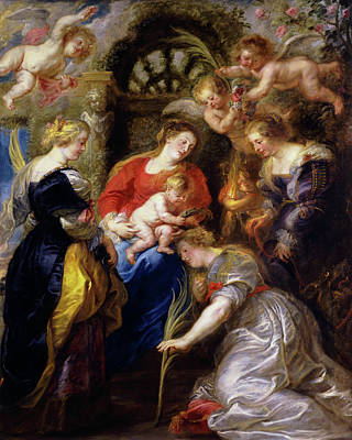 Archangel Painting - Crowning Of Saint Catherine by Peter Paul Rubens