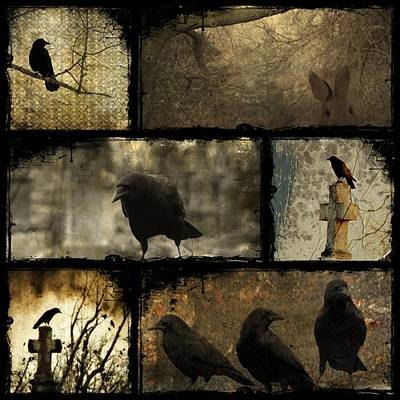 Crows And One Rabbit Print by Gothicolors Donna Snyder