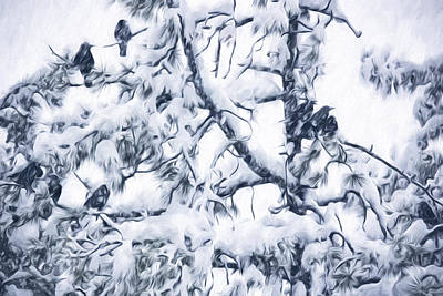 In The Huddle Digital Art - Crows In Snow by Becky Titus
