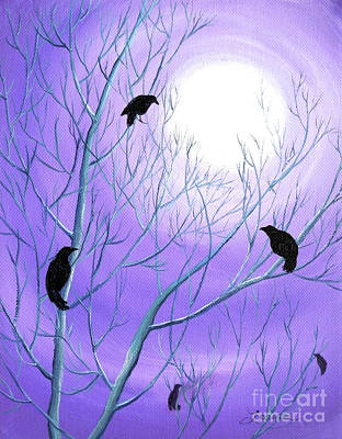 Visionary Painting - Crows On Empty Branches by Laura Iverson