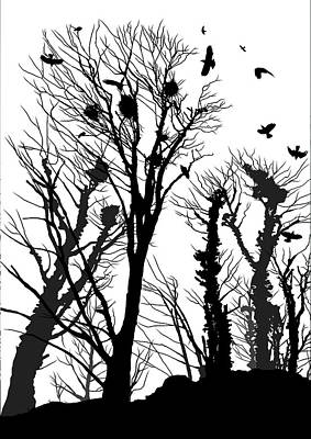 Crow Photograph - Crows Roost 1 - Black And White by Philip Openshaw