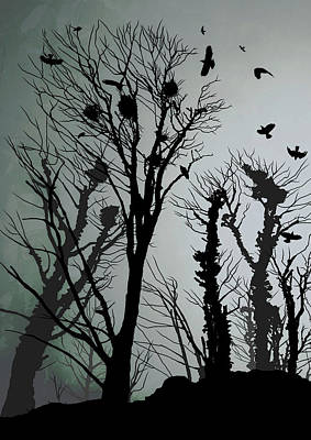 Crow Drawing - Crows Roost 1 by Philip Openshaw