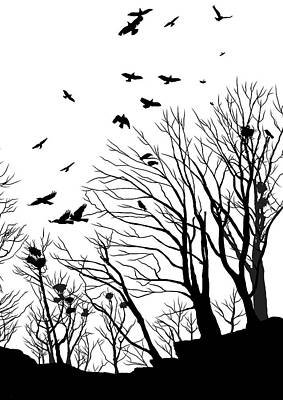Crow Drawing - Crows Roost 2 - Black And White by Philip Openshaw