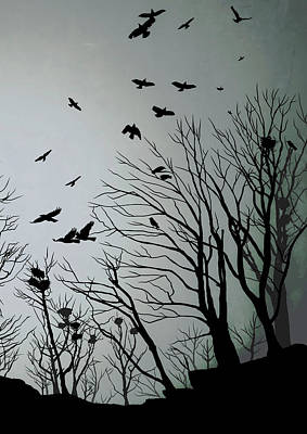 Crow Drawing - Crows Roost 2 by Philip Openshaw