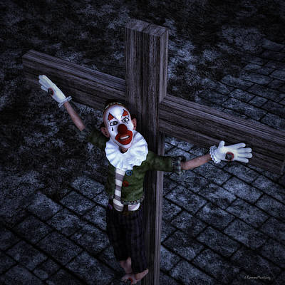 Crucified Clown Print by Ramon Martinez
