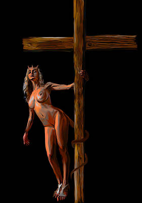 She Devil Painting - Crucified by Tbone Oliver
