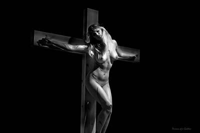 Crucified Woman In Dark Vi Print by Ramon Martinez