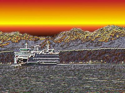 Sunset Abstract Photograph - Cruisin The Sound by Tim Allen