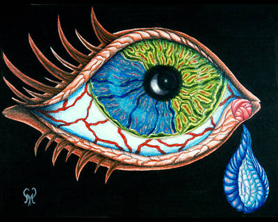 Tears Drawing - Crying Eye by Karen Musick