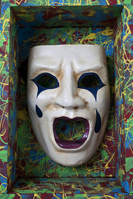 Crying Mask In Box Print by Garry Gay