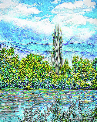 Trippy Digital Art - Crystal Blue Day - Lake And Mountains In Boulder County Colorado by Joel Bruce Wallach