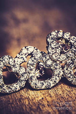 Earrings Photograph - Crystal Heart Earrings by Jorgo Photography - Wall Art Gallery