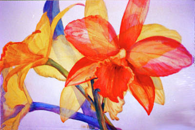 Puerto Rico Painting - Crystal Orchids by Estela Robles