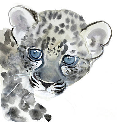Leopard Drawing - Cub by Mark Adlington