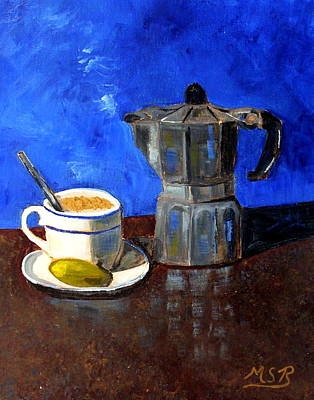 Dining Room Italian Painting - Cuban Coffee And Lime Blue by Maria Soto Robbins