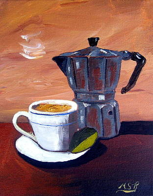 Coffee Cup Painting - Cuban Coffee And Lime Tan Right by Maria Soto Robbins