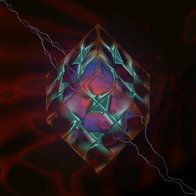 Cube With Thunders 01 Print by Aleksandar Zisovski