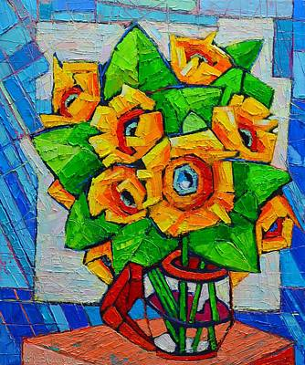 Life In Italy Painting - Cubist Sunflowers - Original Oil Painting by Ana Maria Edulescu