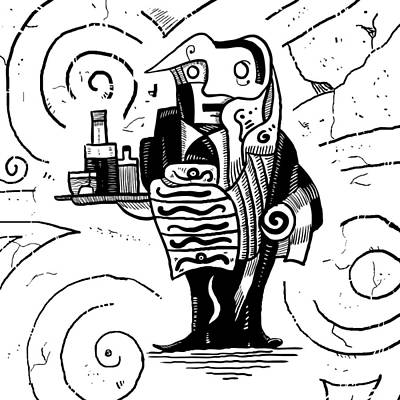 Wine Service Drawing - Cubist Waiter by Sotuland Art