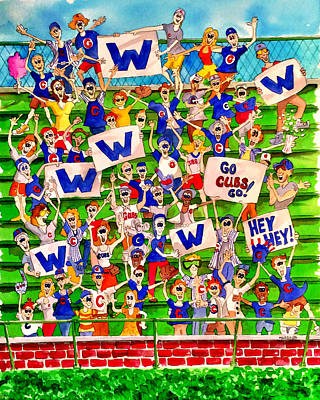 Wrigley Field Painting - Cubs Win by Bill Marsoun