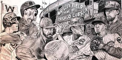 Wrigley Field Drawing - Cubs World Series by Brian Sanford
