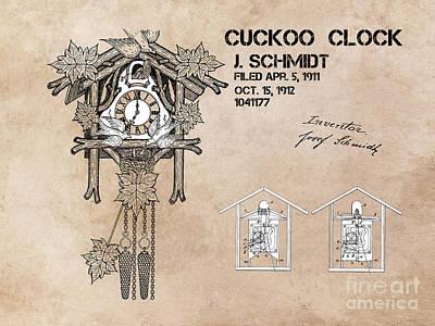 Cuckoo Digital Art - Cuckoo Clock Patent Art by Justyna JBJart