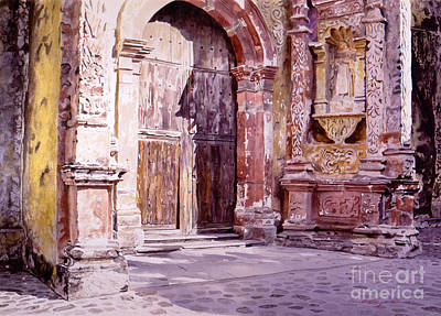 Historical Buildings Painting - Cuernavaca Cathedral by David Lloyd Glover